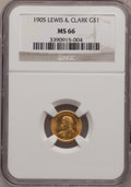 Commemorative Gold: , 1905 G$1 Lewis and Clark MS66 NGC. NGC Census: (52/3). PCGSPopulation (71/3). Mintage: 10,000. Numismedia Wsl. Price for p...