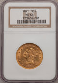 Liberty Eagles: , 1851 $10 MS62 NGC. NGC Census: (6/1). PCGS Population (2/3).Mintage: 176,328. Numismedia Wsl. Price for problem free NGC/P...