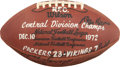 Football Collectibles:Balls, 1972 Green Bay Packers Team Signed Central Division Championship Game Ball - Obtained From Former Team Member....