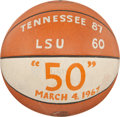 Basketball Collectibles:Balls, 1967 Tennessee Vs. LSU (Maravich) Signed Game Ball - Ron Widby 50 Point Game....