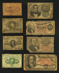 Fractional Currency:First Issue, Low Grade Fractionals About Good or Better.. ... (Total: 8 notes)