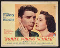 "Movie Posters:Film Noir, Sorry, Wrong Number (Paramount, 1948). Lobby Card (11"" X 14""). FilmNoir.. ..."