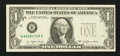 Error Notes:Shifted Third Printing, Fr. 1909-B $1 1977 Federal Reserve Note. Extremely Fine.. ...