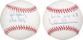 Autographs:Baseballs, Cardinals Stars Single Signed Inscription Baseballs Lot Of 2....