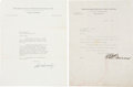 Baseball Collectibles:Others, Ed Barrow and Will Harridge Signed Letters Lot of 2....