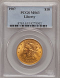 Liberty Eagles: , 1907 $10 MS63 PCGS. PCGS Population (3181/586). NGC Census: (5206/983). Mintage: 1,203,973. Numismedia Wsl. Price for probl...