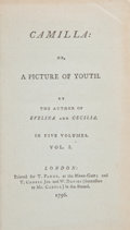 Books:First Editions, [Frances Burney]. Camilla: or, A Picture of Youth.London: T. Payne, T. Cadell Jun and W. Davies, 1796.. First...(Total: 5 Items)