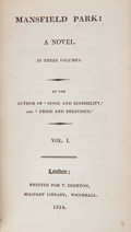 "Books:First Editions, [Jane Austen]. Mansfield Park: A Novel. In Three Volumes. Bythe Author of ""Sense and Sensibility,"" and ""Pride a... (Total: 3Items)"