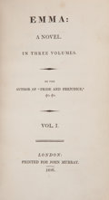 "Books:First Editions, [Jane Austen]. Emma: A Novel. In Three Volumes. By theAuthor of ""Pride and Prejudice,"" &c. &c. Vol. I. [II.III... (Total: 3 Items)"