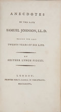Books:First Editions, [Samuel Johnson]. Hesther Lynch Piozzi. Anecdotes of the LateSamuel Johnson, LL. D.: During the Last Twenty Years...