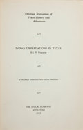 Books:Signed Editions, J[ohn]. W[esley]. Wilbarger. Indian Depredations in Texas....