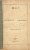 Books:First Editions, Charles Francis Adams. Texas and the MassachusettsResolutions....