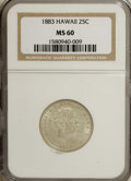 Coins of Hawaii: , 1883 25C Hawaii Quarter MS60 NGC. NGC Census: (2/528). PCGSPopulation (6/880). Mintage: 500,000. (#10987)...