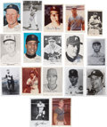 Baseball Collectibles:Photos, Baseball Stars and Hall of Famers Signed Postcards, Photographs and Cards Lot of 17....