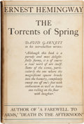 Books:First Editions, Ernest Hemingway. The Torrents of Spring. London: JonathanCape, [1933]. First U. K. edition. Octavo. 173 pages. Yel...