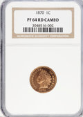 Proof Indian Cents, 1870 1C PR64 Red Cameo NGC. PCGS Population (6/3). (#82299)...
