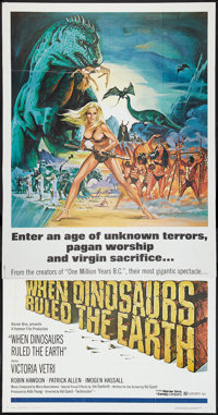 "When Dinosaurs Ruled the Earth (Warner Brothers, 1970). Three Sheet (41"" X 81""). Fantasy"