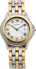 Timepieces:Wristwatch, Cartier Mid-Size Steel & Gold Cougar, circa 1990's. ...