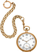 Timepieces:Pocket (post 1900), Omega Gent's Gold Pocket Watch & Chain, circa 1910. ...
