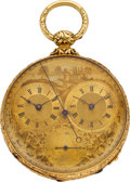 Timepieces:Pocket (pre 1900) , M. J. Tobias Gold Two Train Captain's Watch With Independent Seconds. ...