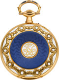 Timepieces:Pocket (post 1900), Cartier Very Fine Gold & Enamel Gent's Pocket Watch. ...