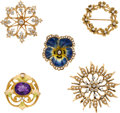 Timepieces:Other , Five Gold, Enamel, Diamond & Pearl Watch Pins. ... (Total: 5Items)