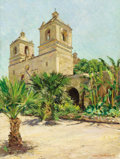 Fine Art - Painting, American:Modern  (1900 1949)  , CLAIRE SHUTTLEWORTH (American, 1867-1930). Old Mission, SanAntonio. Oil on canvas board. 24 x 17-3/4 inches (61.0 x 45....