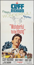 "Movie Posters:Rock and Roll, Wonderful To Be Young (Paramount, 1961). Three Sheet (41"" X 81"").Rock and Roll.. ..."