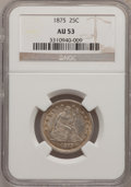 Seated Quarters: , 1875 25C AU53 NGC. NGC Census: (4/243). PCGS Population (4/255).Mintage: 4,293,500. Numismedia Wsl. Price for problem free...