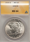Peace Dollars: , 1935 $1 MS64 ANACS. NGC Census: (1723/712). PCGS Population (1991/868). Mintage: 1,576,000. Numismedia Wsl. Price for probl...