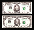 Error Notes:Skewed Reverse Printing, Two $5 FRN Errors.. ... (Total: 2 notes)