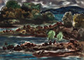 Texas:Early Texas Art - Modernists, JESSE JAY MCVICKER (American, 1911-2004). A Quiet Cove,1946. Watercolor on paper. 21-1/2 x 29-1/2 inches (54.6 x 74.9 c...