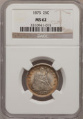 Seated Quarters: , 1875 25C MS62 NGC. NGC Census: (41/148). PCGS Population (32/169).Mintage: 4,293,500. Numismedia Wsl. Price for problem fr...