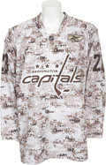 Hockey Collectibles:Uniforms, 2009-10 Alexander Semin Pre-Game Worn Washington Capitals Jersey -Rare Camouflage Style....