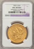 Liberty Double Eagles, 1855-S $20 --Improperly Cleaned--NGC Details. Unc....