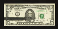 Error Notes:Ink Smears, Fr. 1980-B $5 1988A Federal Reserve Note. Choice AboutUncirculated.. ...