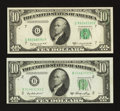 Error Notes:Ink Smears, Fr. 2011-B $10 1950A Federal Reserve Note. CU. Fr. 2013-G $10 1950CFederal Reserve Note. AU.. ... (Total: 2 notes)