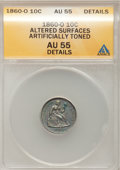 Seated Dimes, 1860-O 10C --Altered Surfaces, Artificially Toned--ANACS. AU55Details....