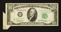 Error Notes:Attached Tabs, Fr. 2012-G $10 1950B Federal Reserve Note. Very Fine.. ...