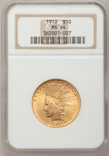 Indian Eagles, 1910 $10 MS64 NGC....