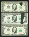 Error Notes:Ink Smears, Fr. 2018-B $10 1969 Federal Reserve Note. Very Choice CU. Fr.2027-B $10 1985 Federal Reserve Note. Fine-VF. Fr. 2028-... (Total:3 notes)