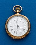 Timepieces:Pocket (pre 1900) , J. Huguenin, Gold Two Train, Key Wind, With Quarter Second Jump....