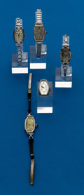 Timepieces:Wristwatch, Five - Swiss, White Gold, Antique Ladies Wristwatches. ... (Total:5 Items)