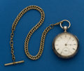 Timepieces:Pocket (pre 1900) , Waltham, Coin silver, Model 57, Key Wind, With Nickel Chain. ...