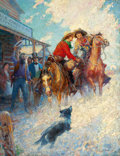Mainstream Illustration, PERCY VAN EMAN IVORY (American, 1883-1960). The Spirit of thePony Express. Oil on canvas. 34 x 26 in.. Signed lower rig...