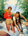 Mainstream Illustration, RAY C. STRANG (American, 1893-1957). Trout Fishing. Oil oncanvas. 34 x 26.5 in.. Signed lower left. ...