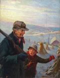 Mainstream Illustration, ROBERT ROBINSON (American, 1886-1952). Hunting withGrandfather. Oil on canvas. 31.25 x 24 in.. Signed lower right....