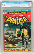 Bronze Age (1970-1979):Horror, Tomb of Dracula #1 Western Penn pedigree (Marvel, 1972) CGC NM 9.4Off-white to white pages....