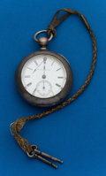 "Timepieces:Pocket (pre 1900) , Hampden ""Woolworth"" Coin Silver Key Wind. ..."