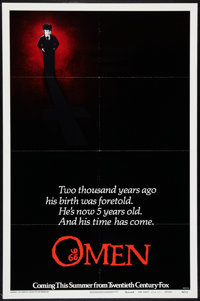 "The Omen (20th Century Fox, 1976). One Sheet (27"" X 41"") Advance Style B. Horror"